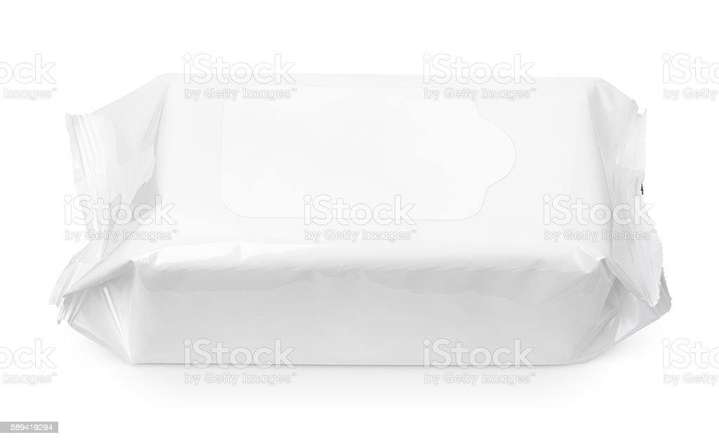 Wet wipes package with flap isolated on white stock photo
