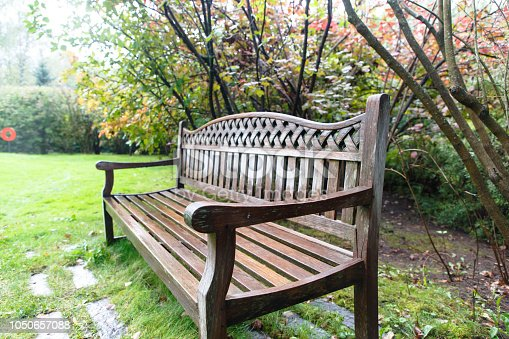 A wet wooden bench stands in the garden.