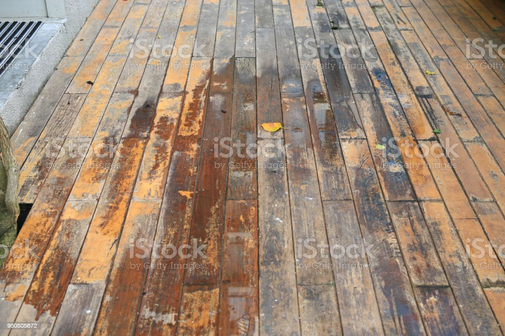 Wet Wooden Floor After Rain At The Garden Stock Photo More
