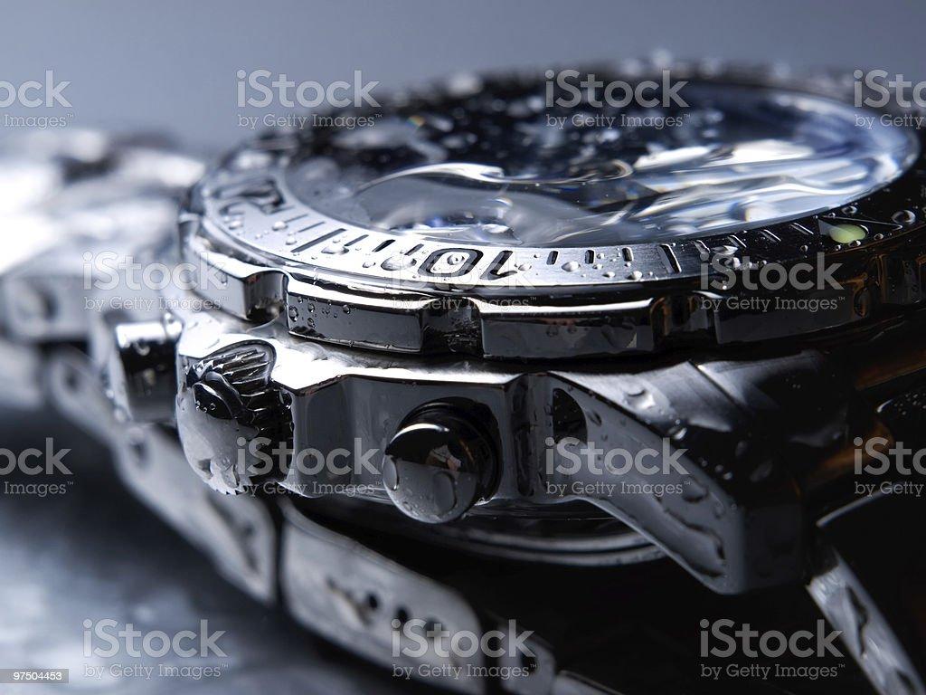 Wet wrist watch  Chrome Stock Photo