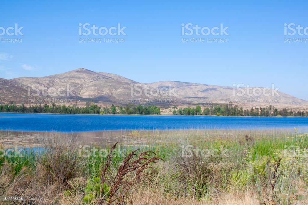 Wetlands Lake and Mountains stock photo