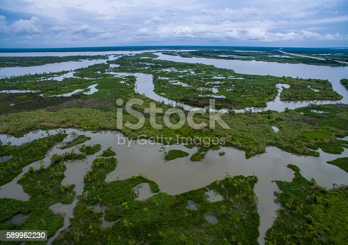 Swamp Wetlands Marsh Delta near Texas Louisiana Border Aerial drone shot over Lost Lake and Found River area