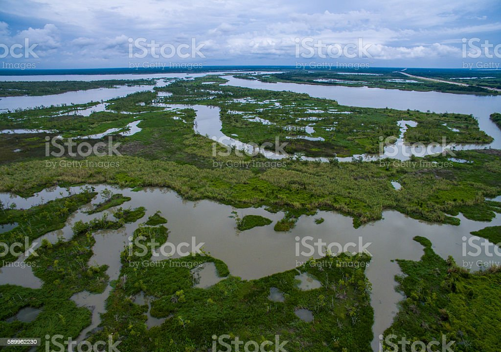 Wetlands Marsh Delta near Texas Louisiana Border stock photo