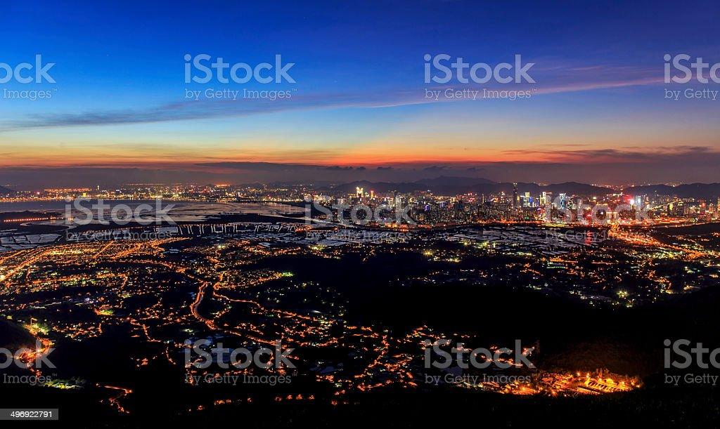Wetlands of Hong Kong at Sunset stock photo