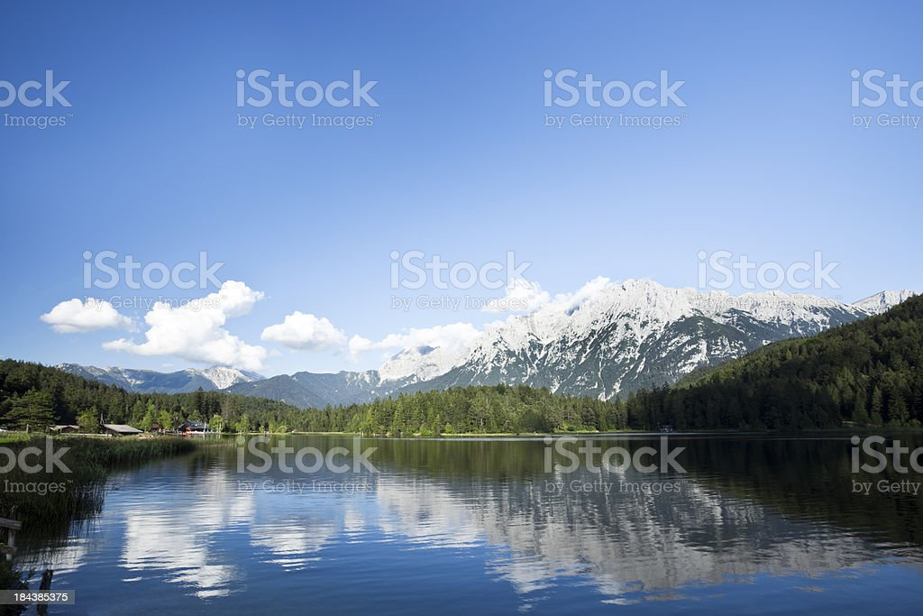 Wetterstein Mountains Reflected in Lautersee Lake stock photo