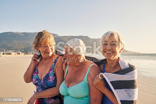 Shot of a group of senior women enjoying some time together at the beach