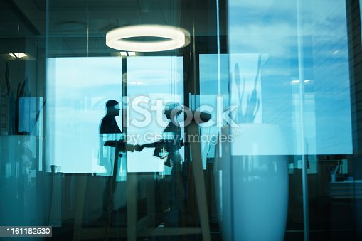 Silhouetted shot of two businesspeople shaking hands in an office