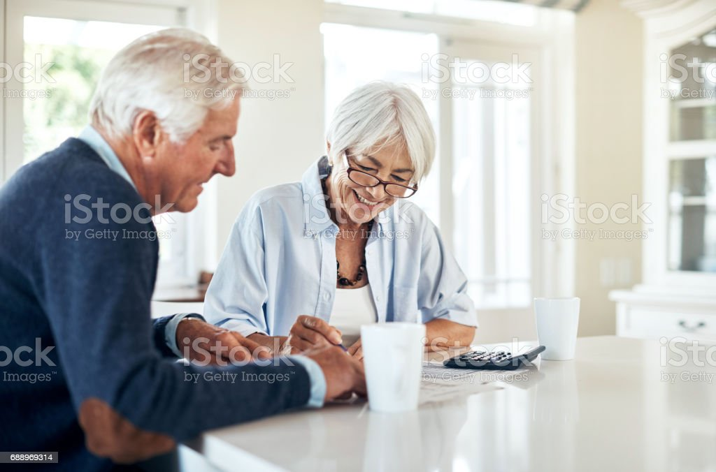 We've managed our finances so well this month stock photo