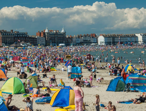 weymouth beach - weymouth stock photos and pictures