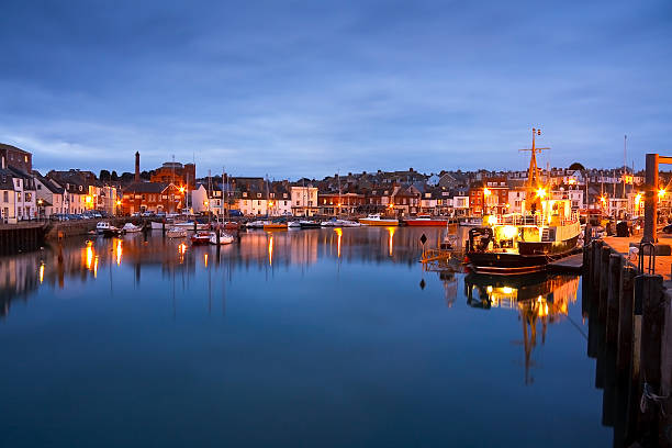 weymouth harbour in dorset. - weymouth stock photos and pictures