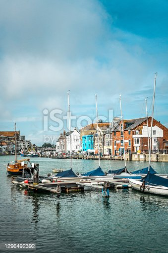 istock Weymouth Pier Full Of Yachts And Fishing Boats, UK 1296492392