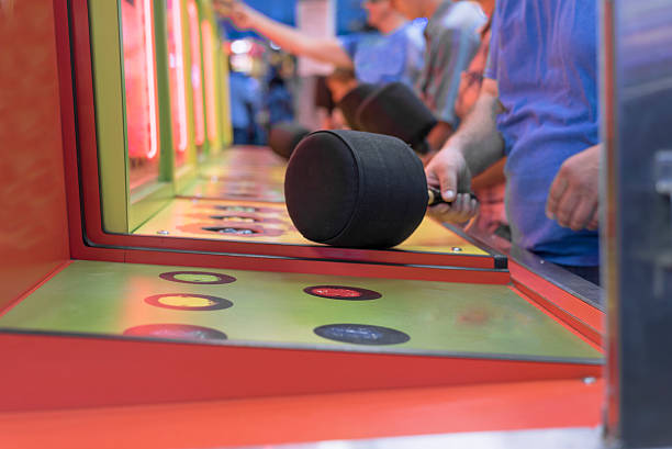 whack a mole game close up at state fair stock photo