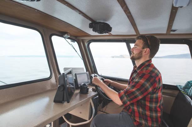 クジラの監視の大尉 - 野生動物旅行 ストックフォトと画像