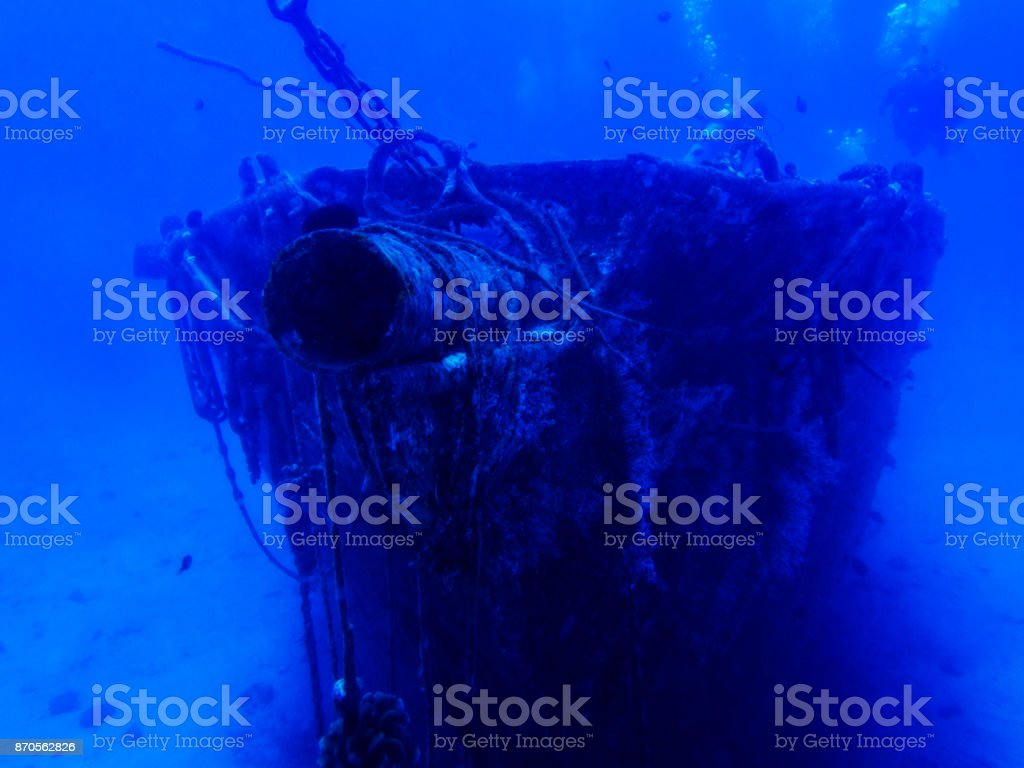 Whaling Ship sits on Ocean Floor stock photo