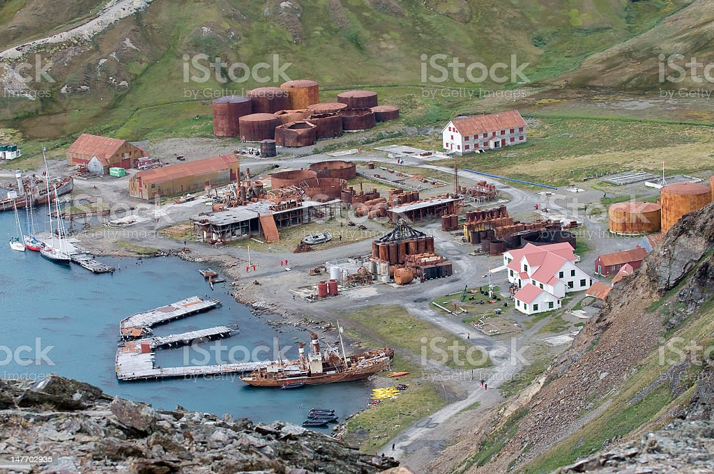 Whaling Town on South Georgia Island stock photo