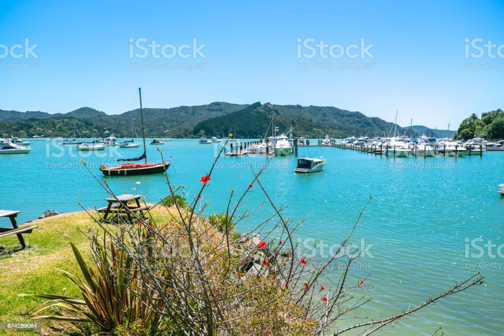 Whangaroa Harbour and marina, Far North, Northland, New Zealand NZ - boats and grassy area for picnic bench stock photo