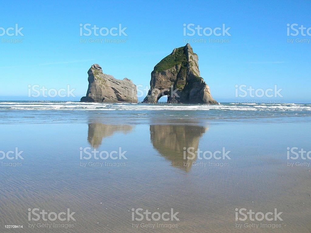 Wharariki beach, south island New Zealand royalty-free stock photo