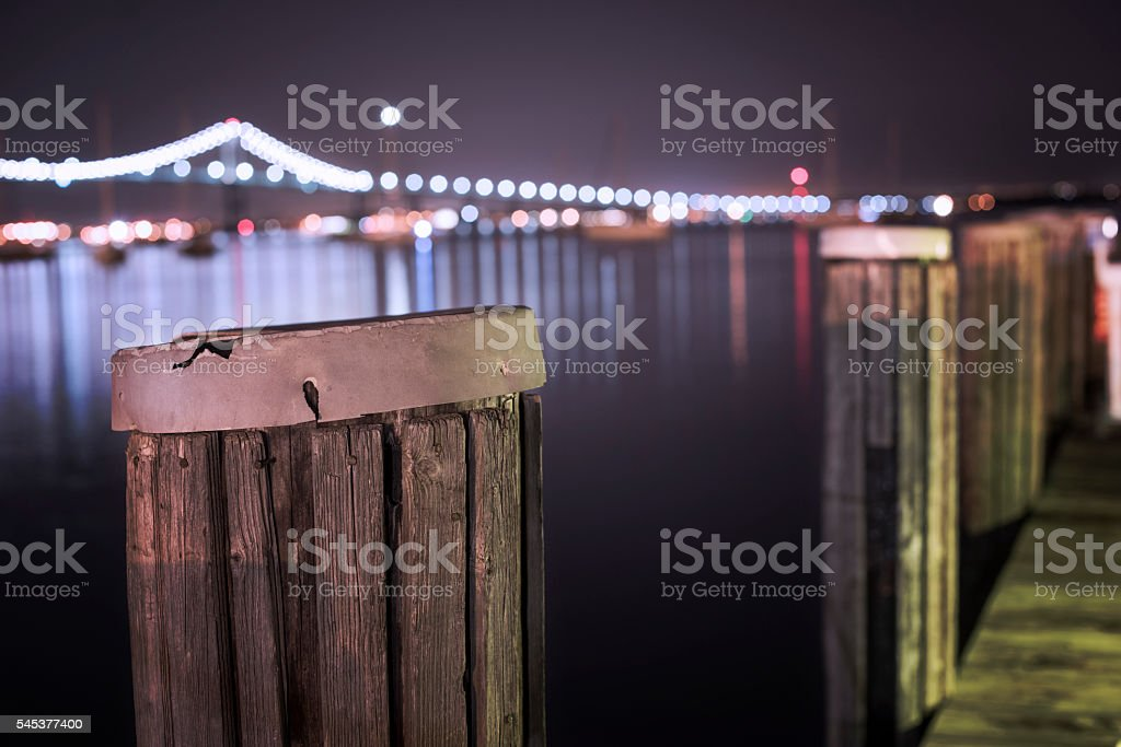 Wharf at night stock photo