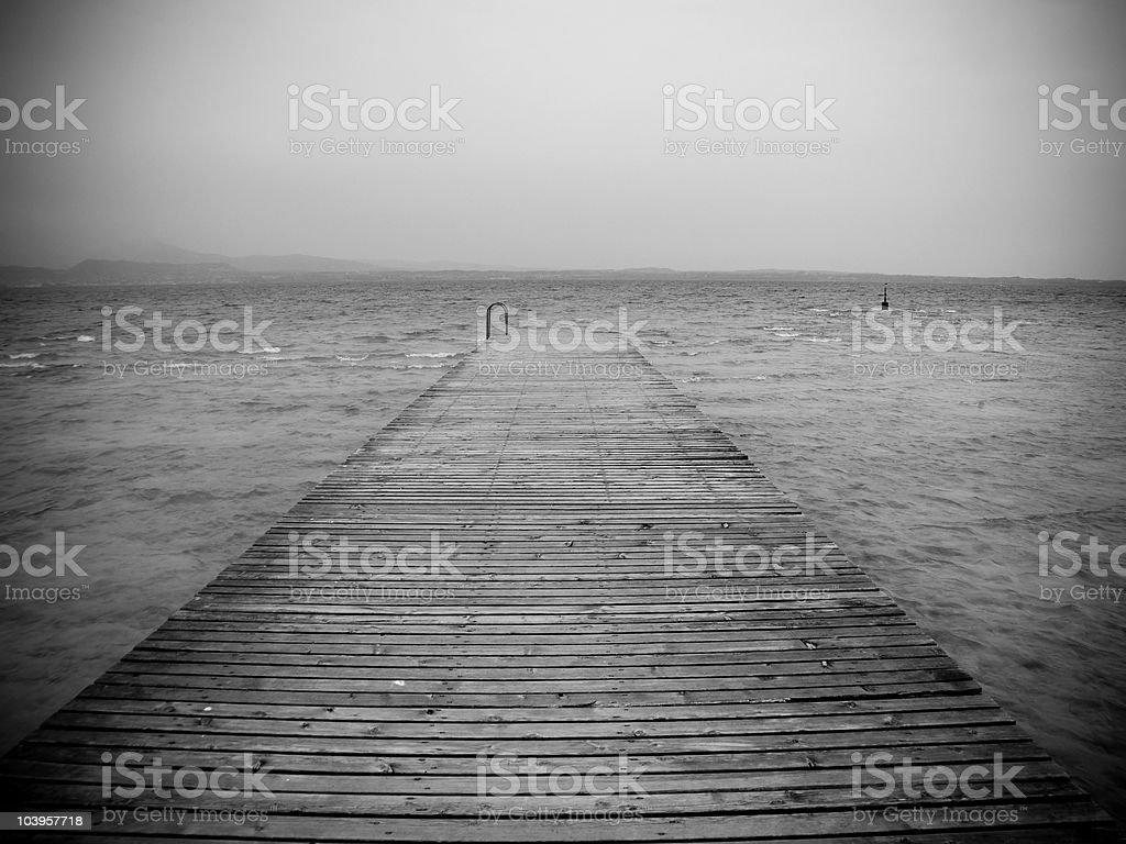 Wharf - Black & White royalty-free stock photo