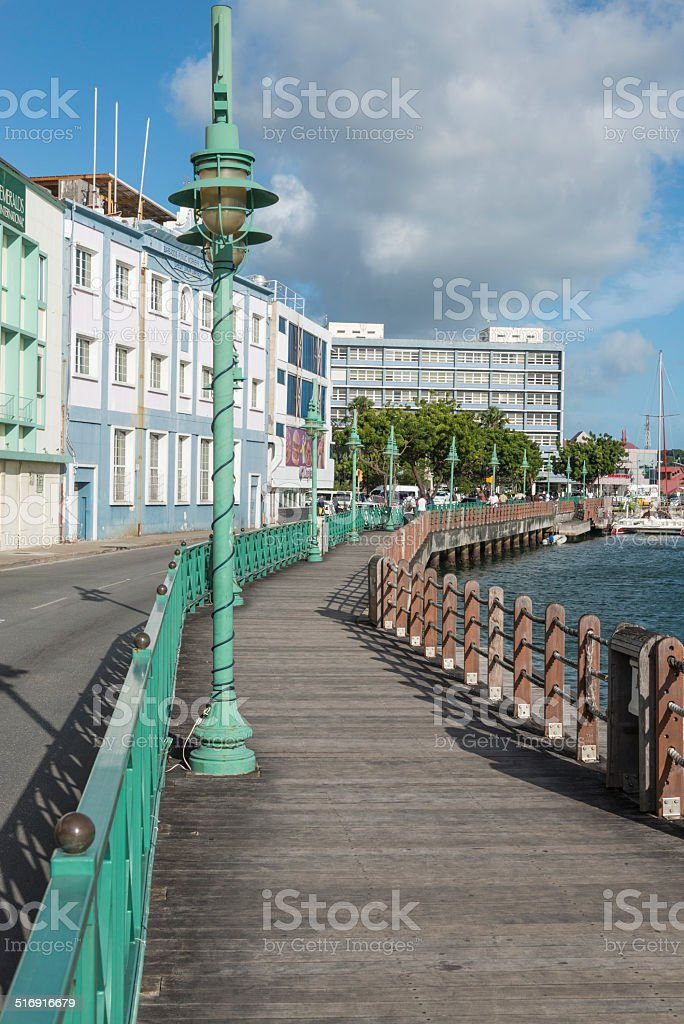Wharf in Bridgetown, Barbados stock photo