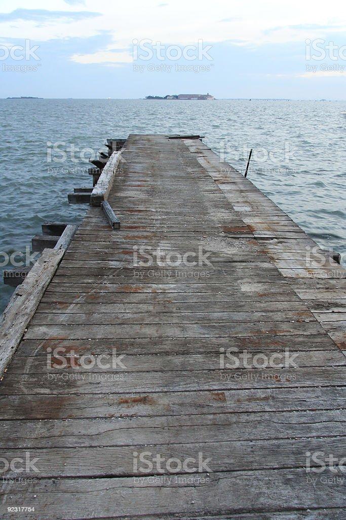 Wharf in venetian lagoon royalty-free stock photo