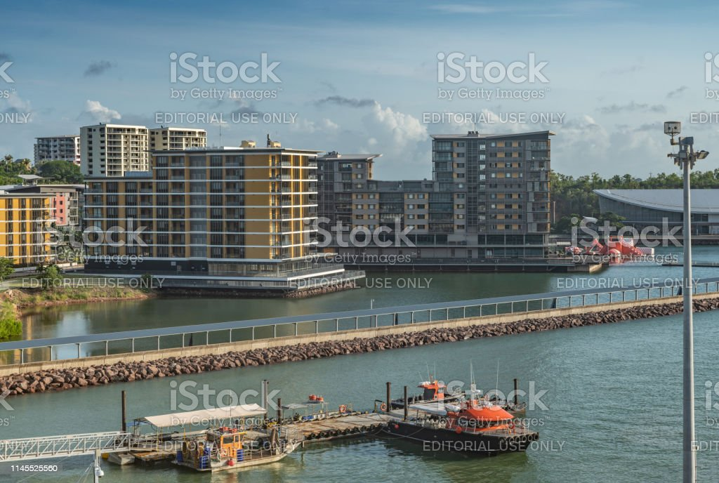 Wharf One residential and retail business buildings on pontons in the...
