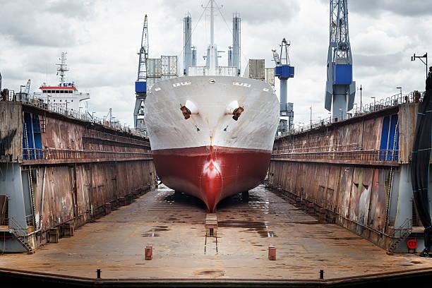 Wharf, ship and gantry crane, port of Rotterdam stock photo