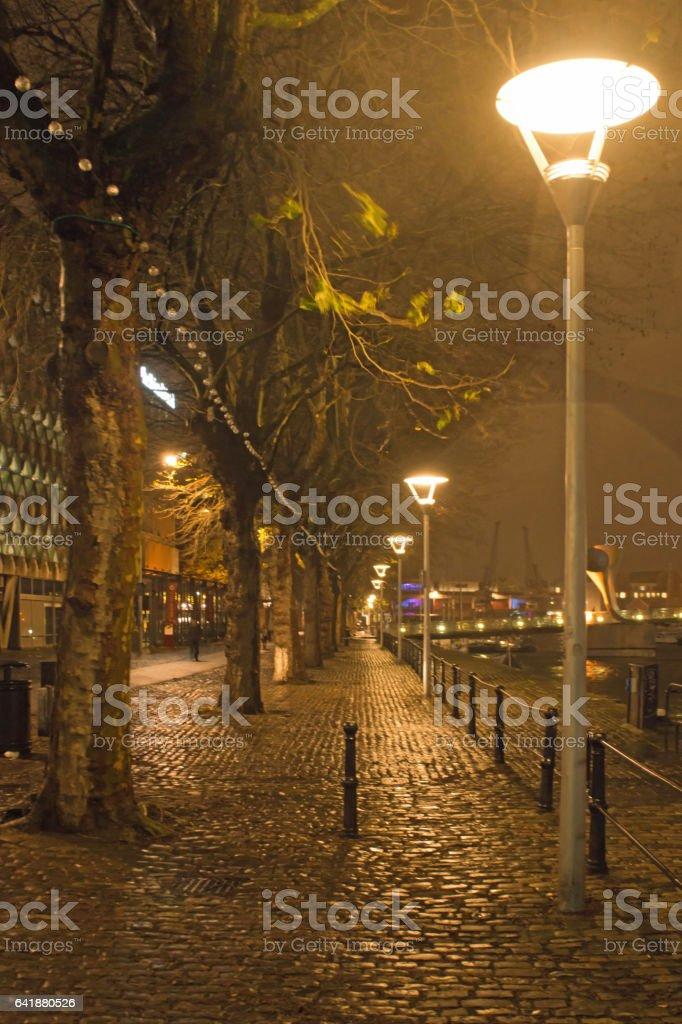 Wharf street lighting at night in central Bristol. stock photo
