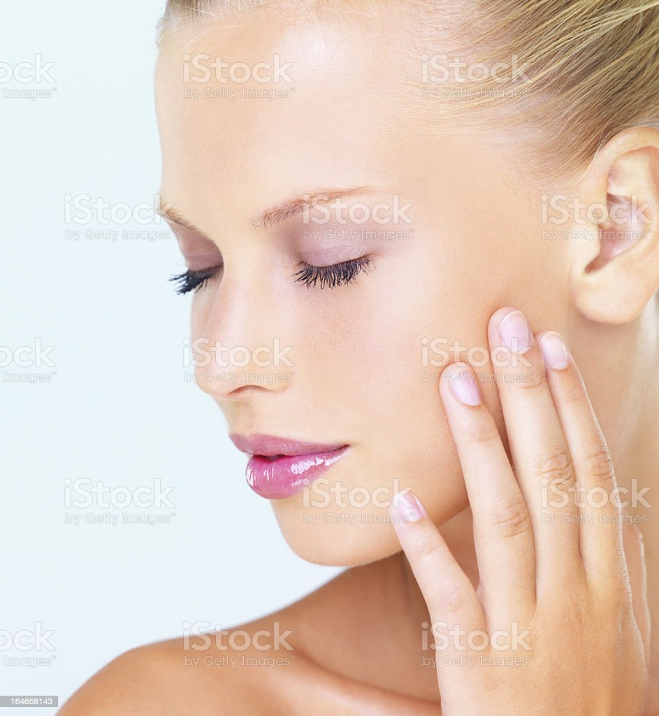 What a beautiful complexion! stock photo