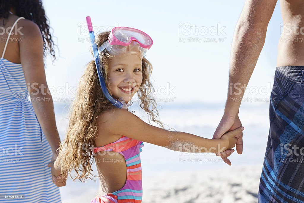 What a great day for an outing to the beach stock photo