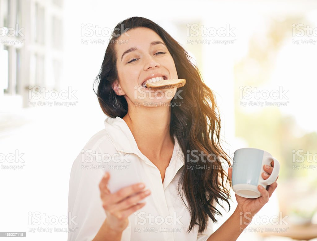 What a yummy start to the day stock photo
