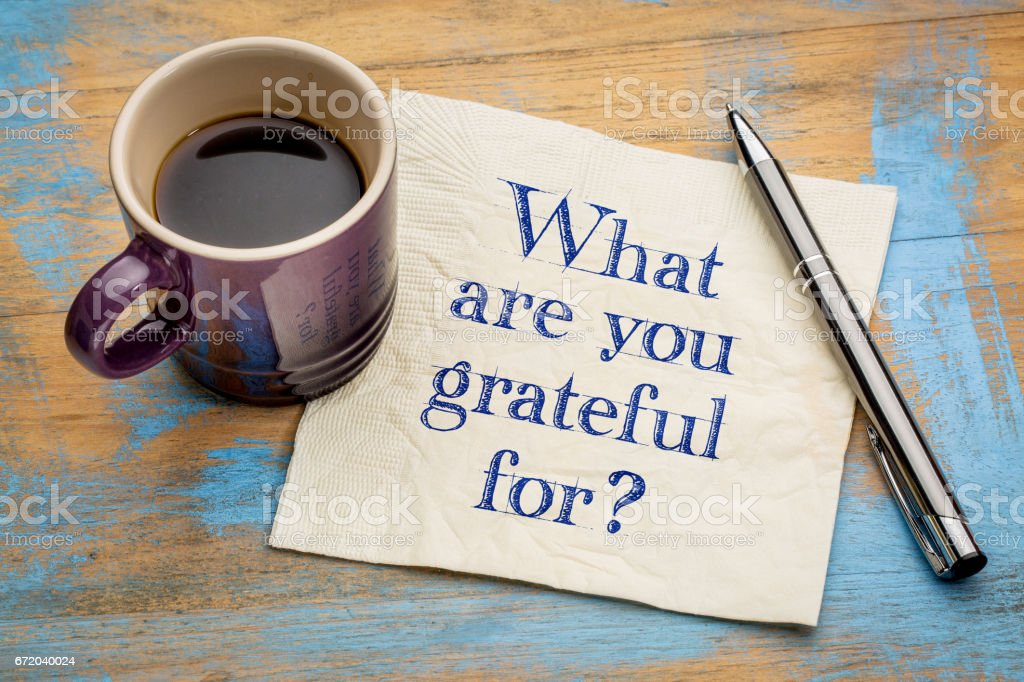 What are you grateful for? - foto de acervo