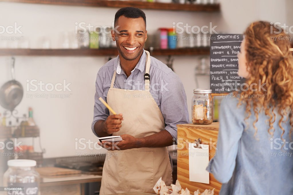 What can I get for you today? stock photo