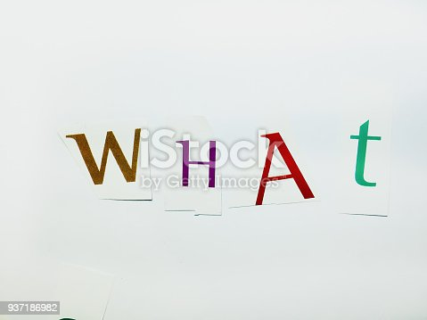 812461124istockphoto What - Cutout Words Collage Of Mixed Magazine Letters with White Background 937186982