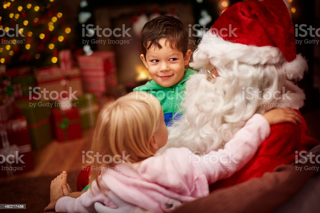 What did you bring for us? stock photo