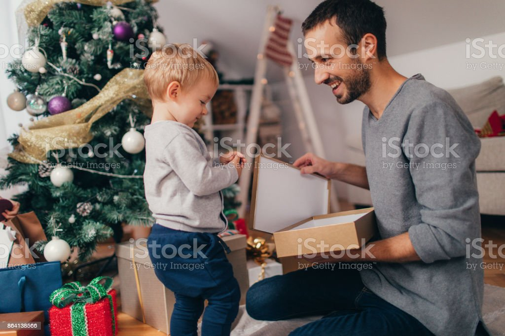 What did you get me for Christmas, daddy? royalty-free stock photo