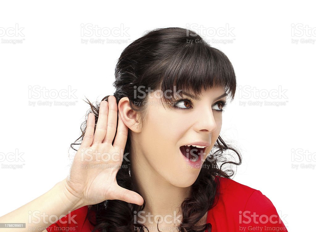 What did you say?White background royalty-free stock photo