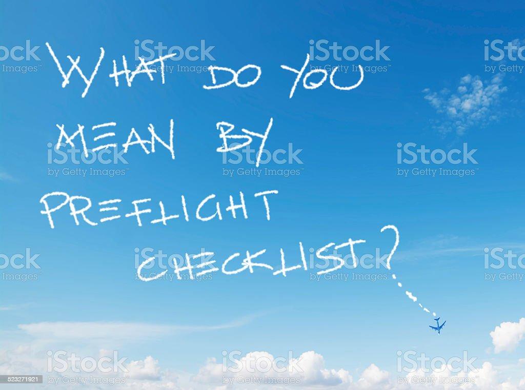Was meinen Sie von preflight-Checkliste? - Lizenzfrei Checkliste Stock-Foto