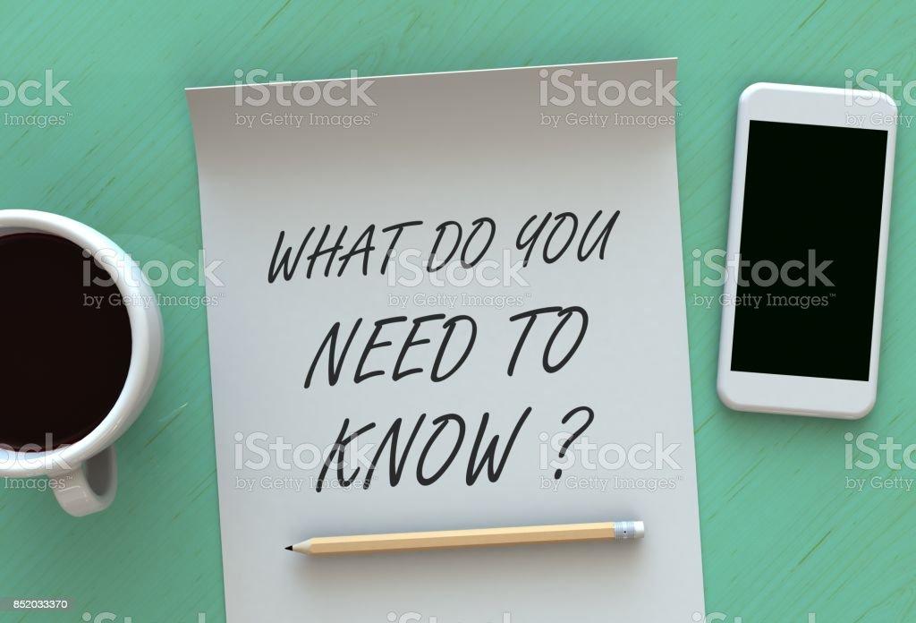 Quel Do You Need To Know, message sur papier, téléphone intelligent et café sur la table, 3D rendering - Photo