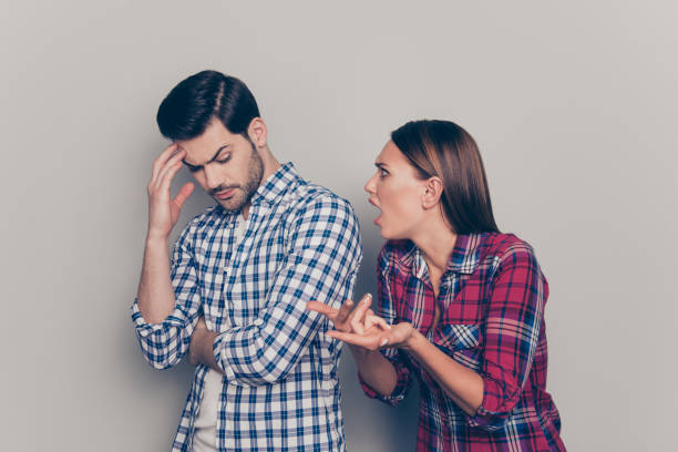 What is going on Aggressive she her he his gesturing hands look What is going on Aggressive she her he his gesturing hands looking at hiding face calm peaceful person lady wearing casual checkered plaid shirt isolated on grey background nettle stock pictures, royalty-free photos & images