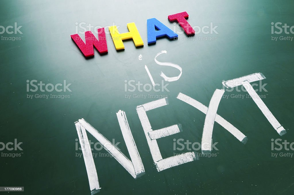 What is next concept,words on blackboard. royalty-free stock photo