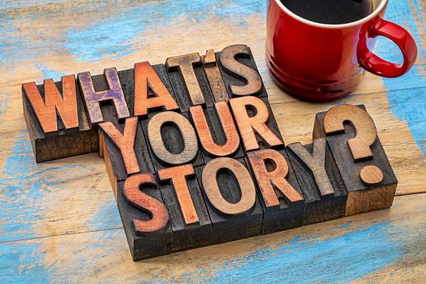 ¿Cuál es su historia pregunta - foto de stock