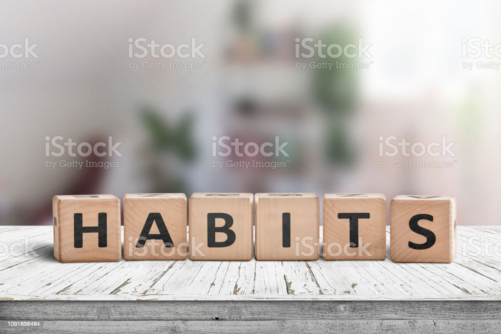 What is your habits? Sign with the word habits stock photo