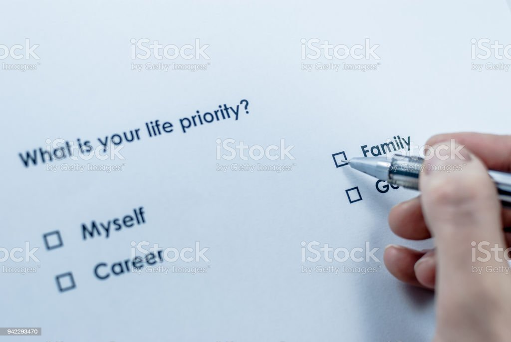 What is your life priority? Family stock photo