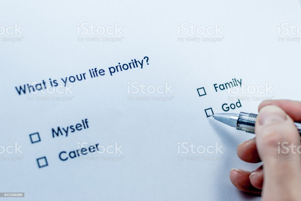 What is your life priority? God stock photo