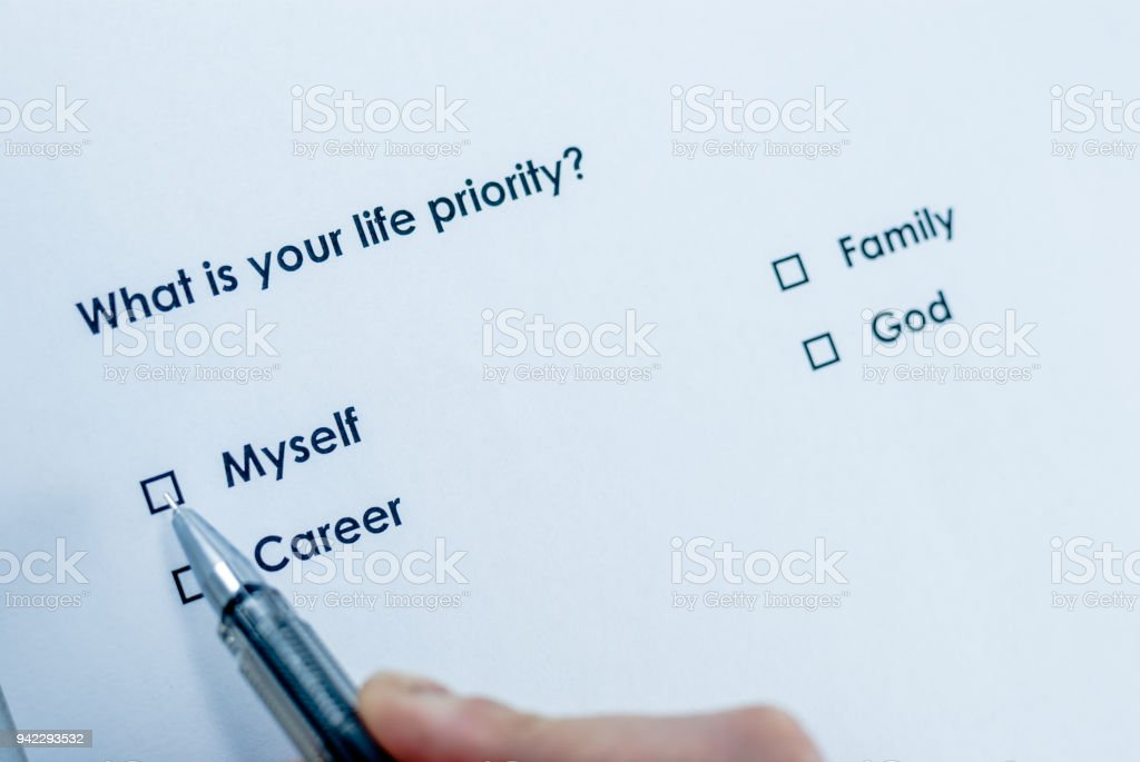 What is your life priority? Myself stock photo