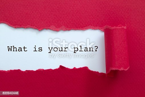 What is your plan? written under torn paper.