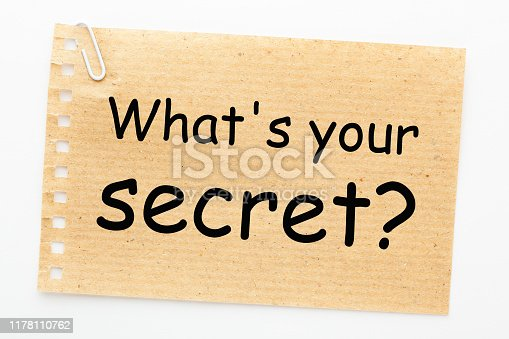 What's your secret text on sheet of recycled paper on white background.