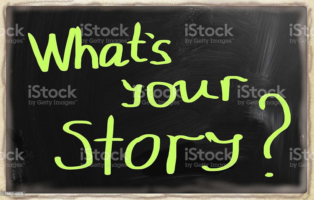 'What is your story' handwritten with chalk on a blackboard royalty-free stock photo