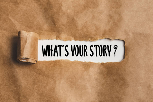 What is your story ? on Torn paper - concept for asking someone to tell about himself stock photo